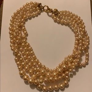 J Crew faux cream hue pearls with gold clasp